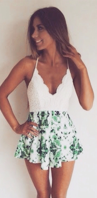 romper dress jumpsuit one piece two toned two material two-piece set cute green tropical' lace white leaves nature print crochet bust halter neck party