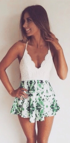 romper romper dress jumpsuit one piece two toned two material two-piece set cute green tropical' lace white leaves nature print leaves crochet bust halter neck party