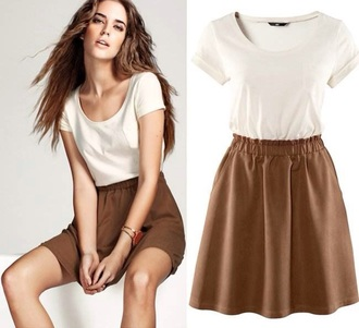 dress white and brown dress