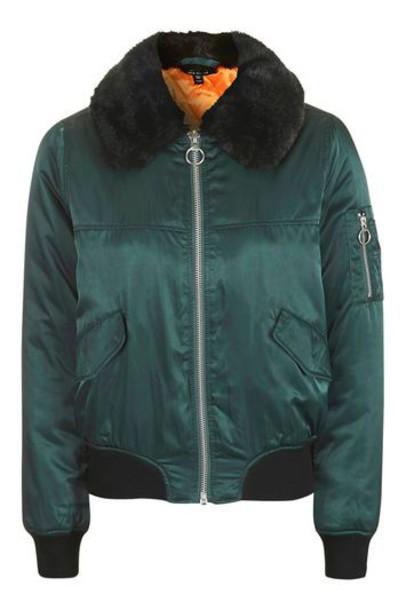 Topshop jacket bomber jacket fur faux fur teal