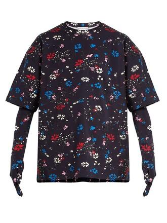 t-shirt shirt oversized floral print navy top