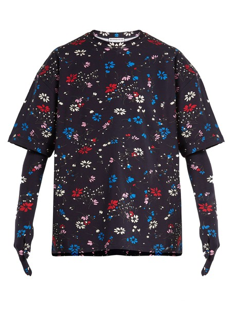 Balenciaga t-shirt shirt t-shirt oversized floral print navy top