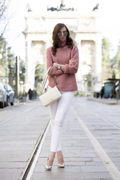 vogue haus,blogger,sweater,jeans,shoes,bag,sunglasses,jewels,streetstyle,pink sweater,white jeans,topshop,asos,chanel boy bag,chanel boy,boy bag,dior sunglasses