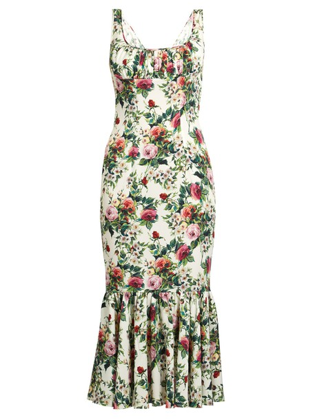 Dolce & Gabbana dress rose print white