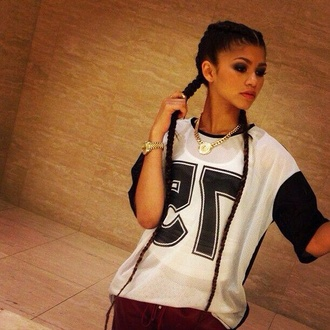 blouse zendaya coleman number tee 75 sportswear urban old school haute & rebellious nastygal gold black black and white hip hop shirt loose tshirt print printed t-shirt t-shirt teenagers red lime sunday