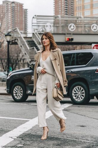 sweater nude sweater nude pants pants cropped pants bag camel nude bag coat camel coat sandals sandal heels high heel sandals fall outfits office outfits work outfits streetstyle beige coat winter work outfit