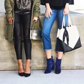 shoes,tumblr,boots,blue boots,ankle boots,denim,jeans,blue jeans,cropped jeans,bag,black and white,leather leggings,leggings,black leggings,pumps,pointed toe pumps,high heel pumps,heels,high heels,black heels,silver bag