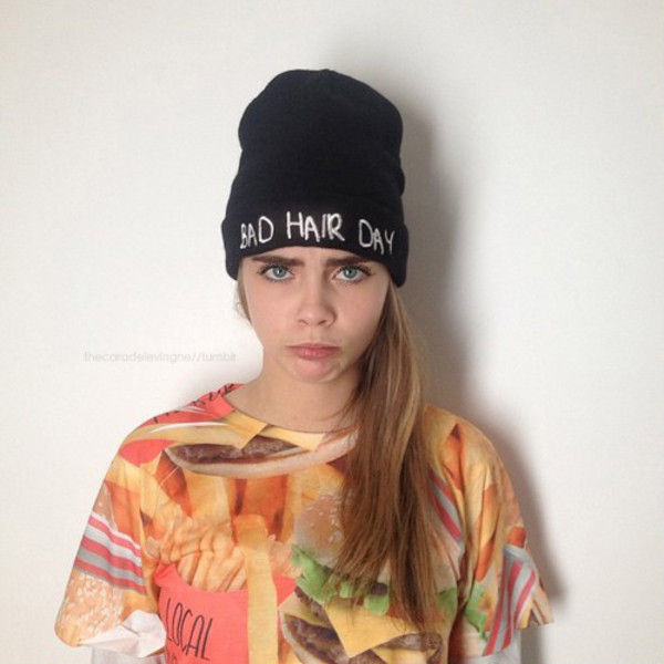 hat beanie quote on it t-shirt cara delevingne shirt local heroes top food