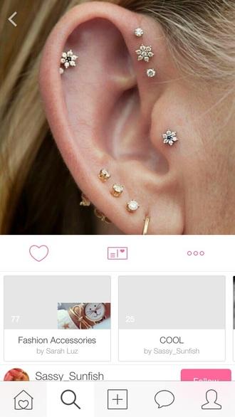 jewels earrings flowers gold piercing diamonds