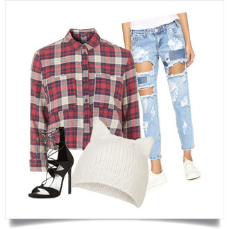 jeans ripped jeans beanie heels cute outfits outfit lunch outfit patchwork jeans cat ear beanie flannel crop top top hat shoes polyvore polyvore outfit cute crop tops