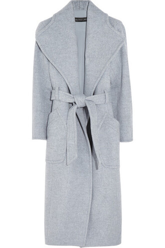 coat theyskens theory belted coat wrap coat waterfall collar