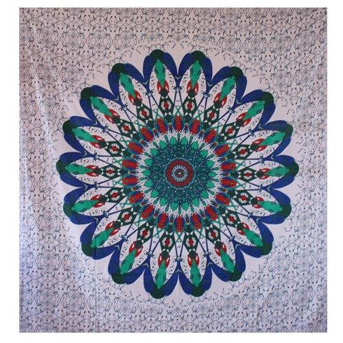 Online Store Blue and Green Flower Wall Art Tapestry - HandiCrunch.com