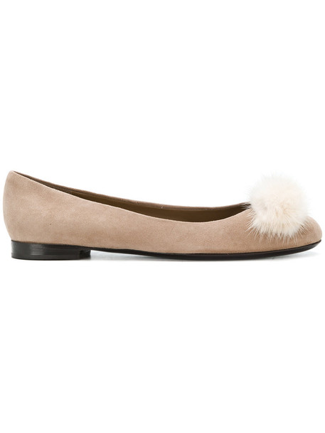 fur women flats leather brown shoes