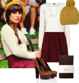 jumpsuit lea michele glee outfit fall outfits nerd fashion back to school burgundy lemongrass shoes hat