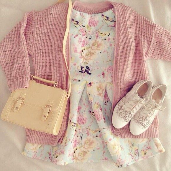 shoes floral flower cardigan pastel colors yellow bag