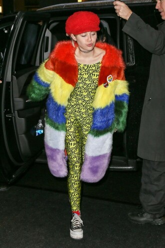 coat fur fur coat miley cyrus winter outfits colorful lgbt hat jumpsuit leggings faux fur faux fur coat red jewels jewelry necklace choker necklace black choker tattoo choker celebrity style celebrity printed fur coat long fur coat printed oversized coat