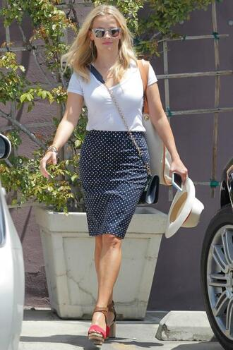 skirt top polka dots pencil skirt reese witherspoon sandals summer outfits