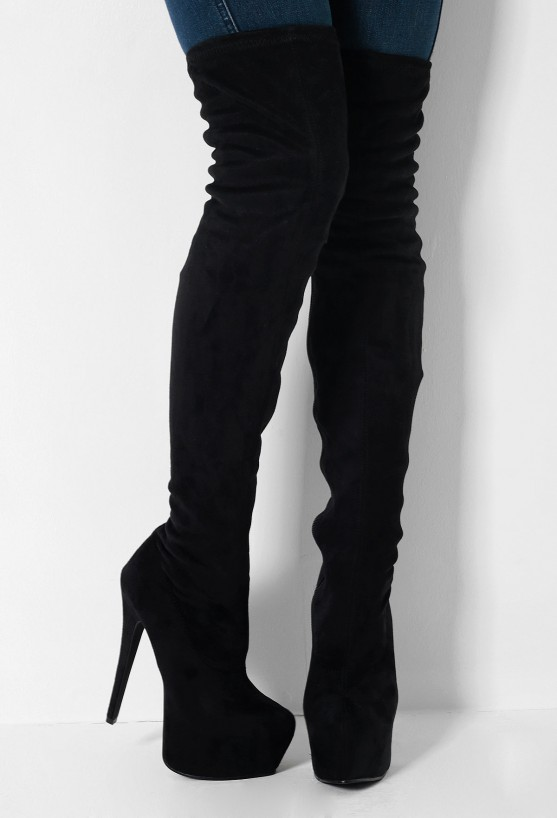 Black Suede Thigh High Platform Boots | Pink Boutique