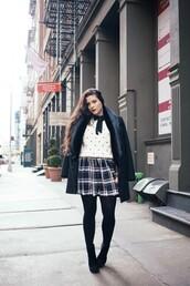 noelles favorite things,blogger,coat,plaid skirt,polka dots,white sweater,sweater,dress,shoes,fur collar coat
