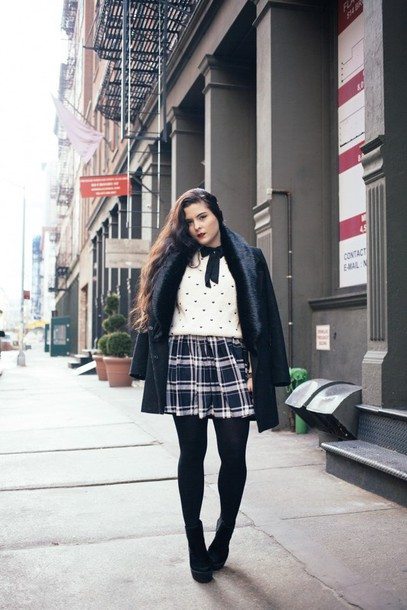 noelles favorite things blogger coat plaid skirt polka dots white sweater sweater dress shoes fur collar coat
