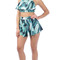 Tropical bombay leaves ruffle crop top