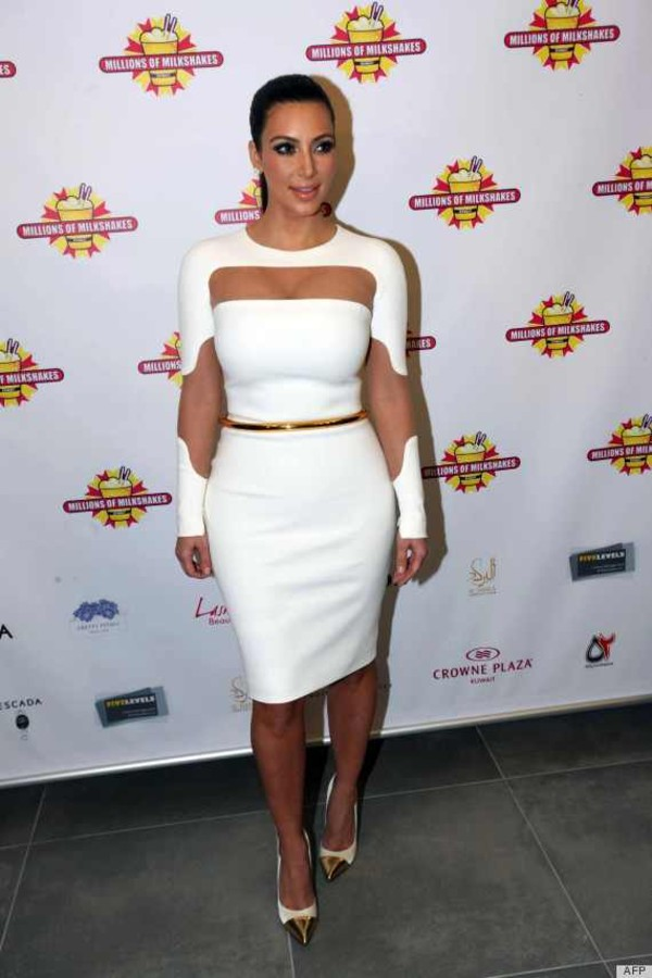 dress clothes kim kardashian celebrity white dress knee length white dress