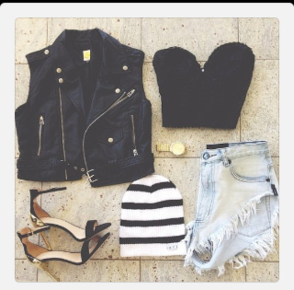 shirt denim vest hat shoes stripes crop tops style high heels