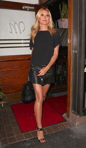 heidi klum,midi skirt,leather skirt,all black everything,black top,black bag,mini skirt,model