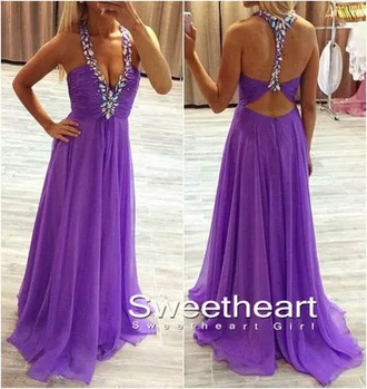 dress prom dress purple long dress diamonds backless
