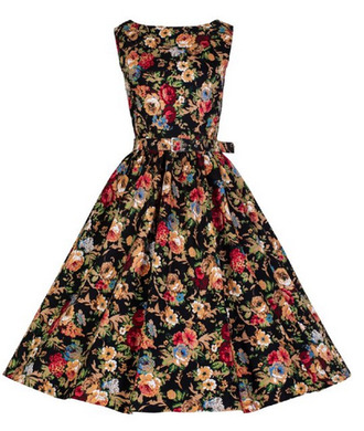 chic retro vintage girly cute dress belt floral dress