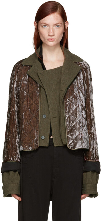 jacket quilted velvet brown