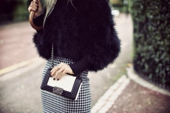 jacket fur black elegant