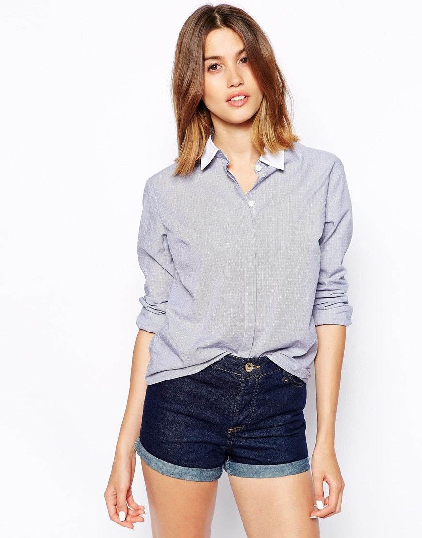 ASOS Relaxed Shirt in Grey with White Collar at asos.com