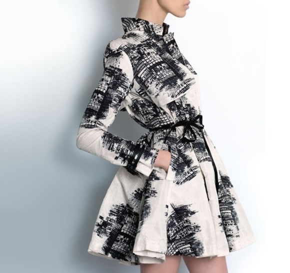 dress trench black and white