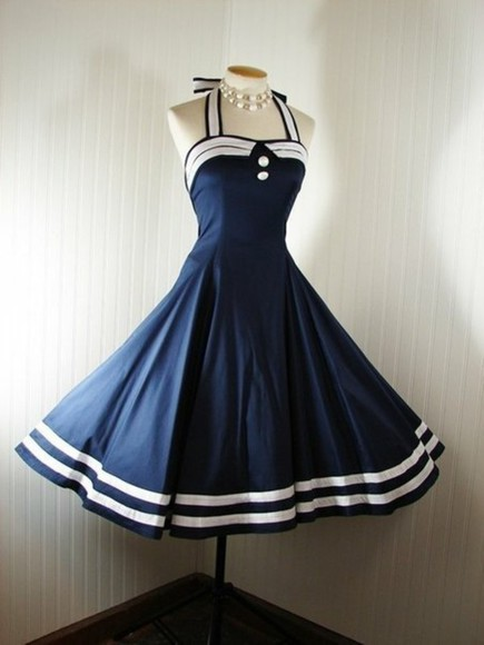 dress stripes white blue dress blue buttons