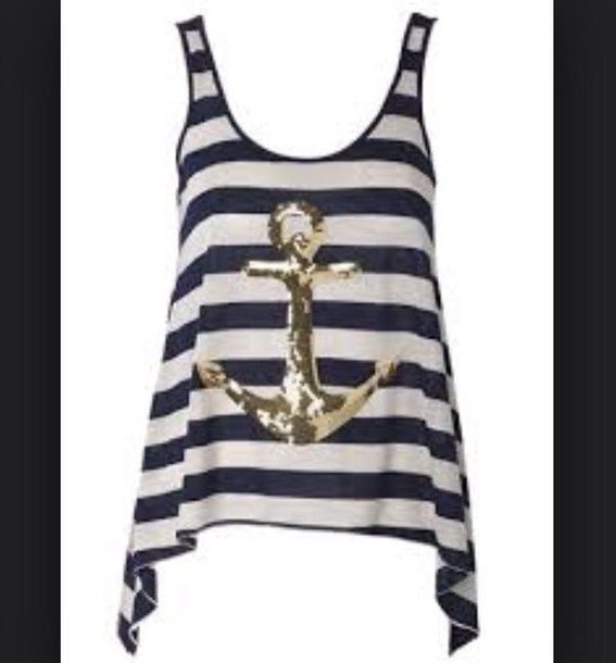 shirt navy blue and white stipes with gold anchor