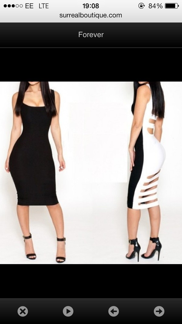 dress black and white sexy open back dresses