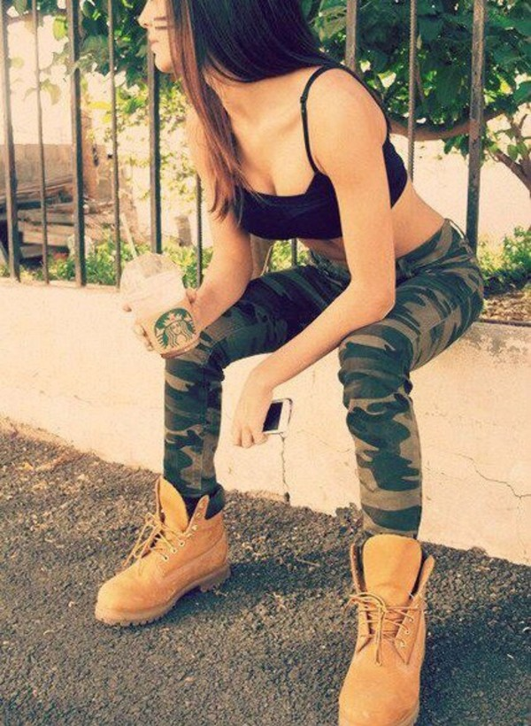 pants camouflage skinny jeans top shoes