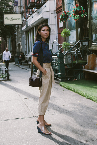 honey n silk blogger sweater pants shoes bag wedges gucci fall outfits