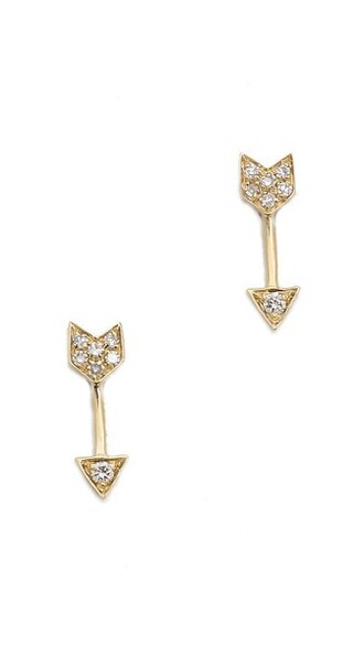 mini arrow clear earrings stud earrings gold yellow jewels
