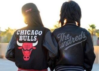 jacket chicago bulls chicago the hundreds hundreds varsity jacket leather jacket black jacket dope swag