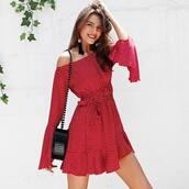 dress,women,fashion,red dress,polka dots dress