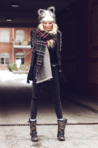 hat blogger cats fall outfits scarf cute fluffy fall outwear pants jeggings boots shoes black blonde hair flannel scarf girly lookbook winter outfits cat ears fall jacket leather jacket leather cozy black boots