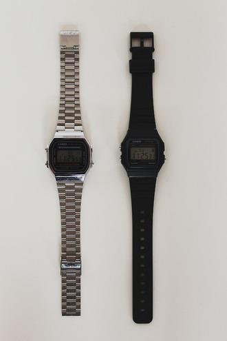 jewels watches silver watch black watch casio watch casio matte black casio f91 montre casio vintage minimalist jewelry