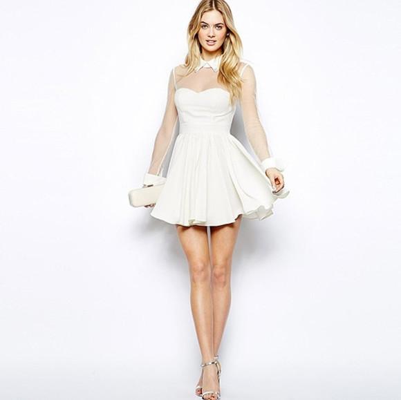 white dress mini dress long sleeve dress sheer sleeve mesh sleeves skater dress