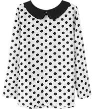 Polka Dots Print White Blouse