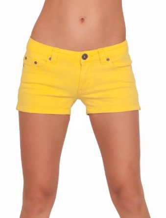 Amazon.com: Bootie Boy Hot Color Pop Colorful Solid Stretch Denim Jean Mini Shorts: Clothing