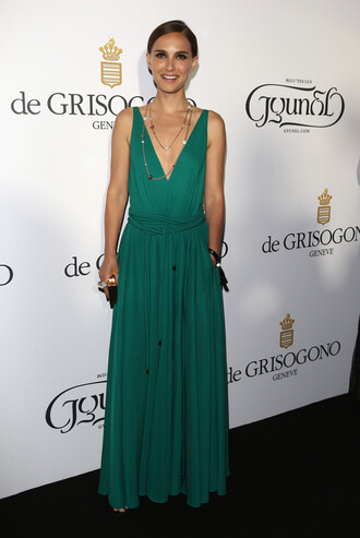 dress gown maxi dress summer dress natalie portman cannes green plunge v neck prom dress