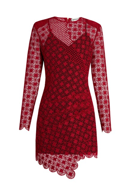 self-portrait dress mini dress mini lace red