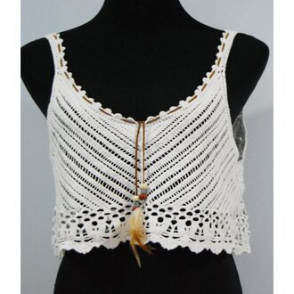 top white crop tops crochet summer spring boho gypsy trendy rose wholesale-ma